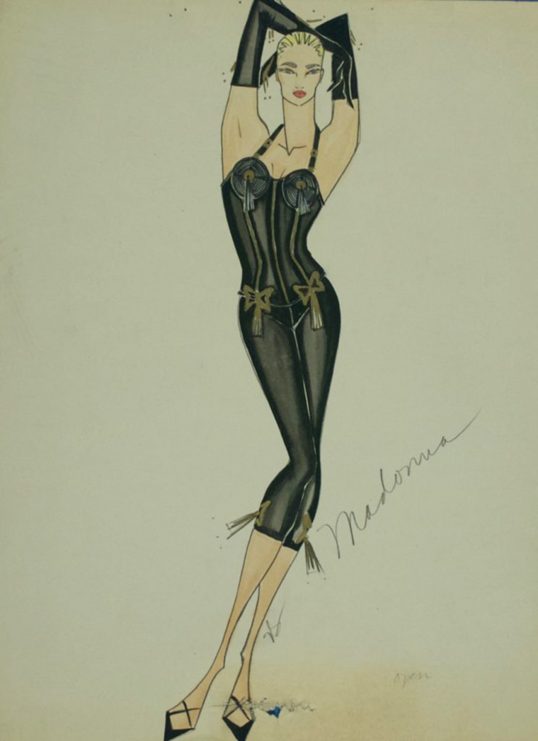 "A sketch of Madonna from the music video for ""Express Yourself."""