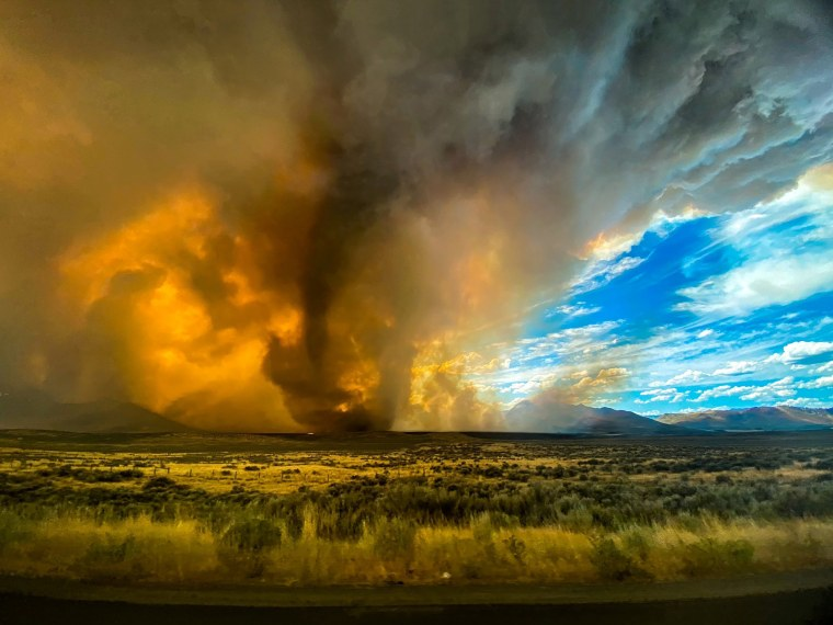 Image: Funnel appearing in thick plume of smoke from the Loyalton Fire is seen in Lassen County