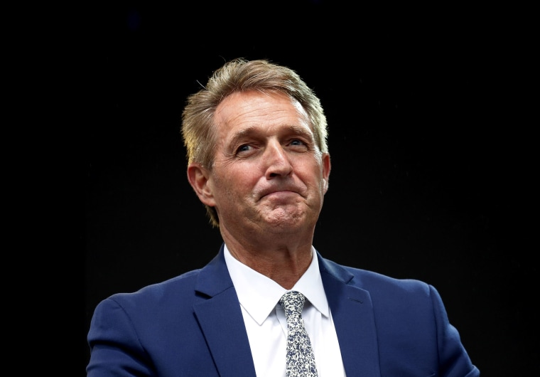 Image: Sen. Jeff Flake, R-Ariz., listens to a question during an appearance at the Forbes 30 Under 30 Summit in Boston.