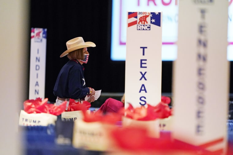 Delegates begin to arrive for the first day of the Republican National Convention on Aug. 24, 2020, in Charlotte, N.C.