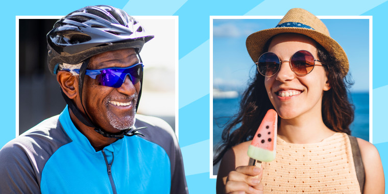 Men wearing bike helmet and sports sunglasses and woman wearing sunglasses on beach eating watermelon popsicle. These are the best men's sunglasses and women's sunglasses in 2020, including polarized sunglasses and more from Ray-Ban, Oakley, Adidas and mo