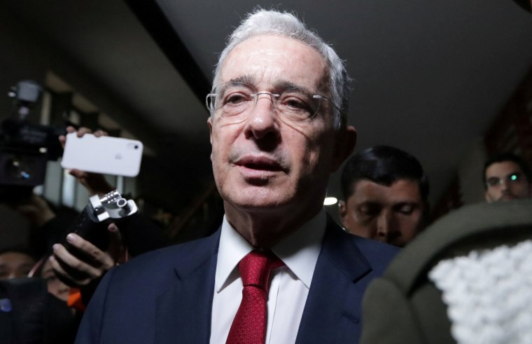 Image: Colombia's former president Alvaro Uribe, arrives to a private hearing at Supreme Court of Justice in Bogota