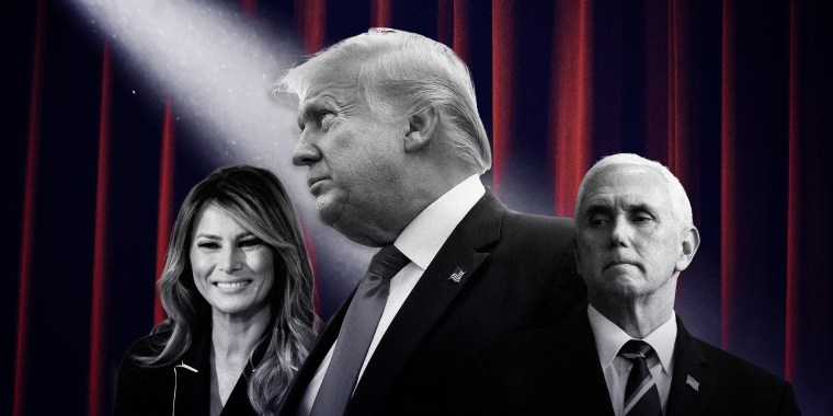 Image: First lady Melania Trump, President Donald Trump and Vice President Mike Pence on a background of stage lights and dark red curtains.
