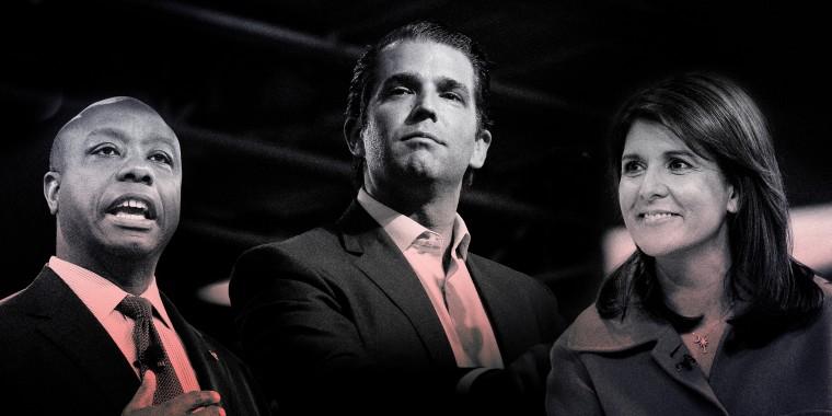 Image: Rep. Tim Scott, Donald Trump Jr. and Nikki Haley.
