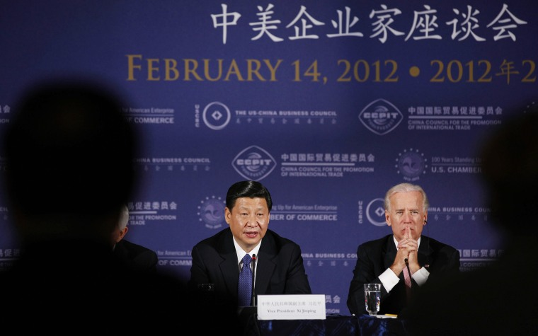 Vice President Biden and China's Vice President Xi during a business roundtable event at the U.S. Chamber of Commerce in Washington
