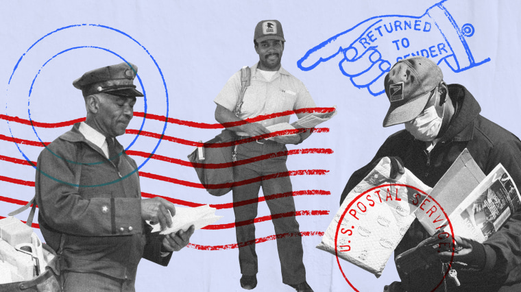 Image: Generations of U.S. Postal Service Black mail carriers with stamp and USPS motifs.