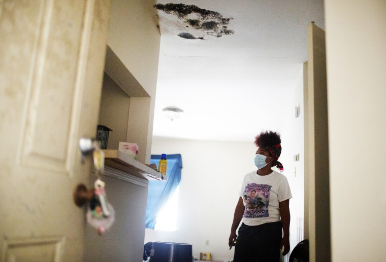 Black mold covers the ceiling where Brandie Barrow was living in Algiers, in New Orleans