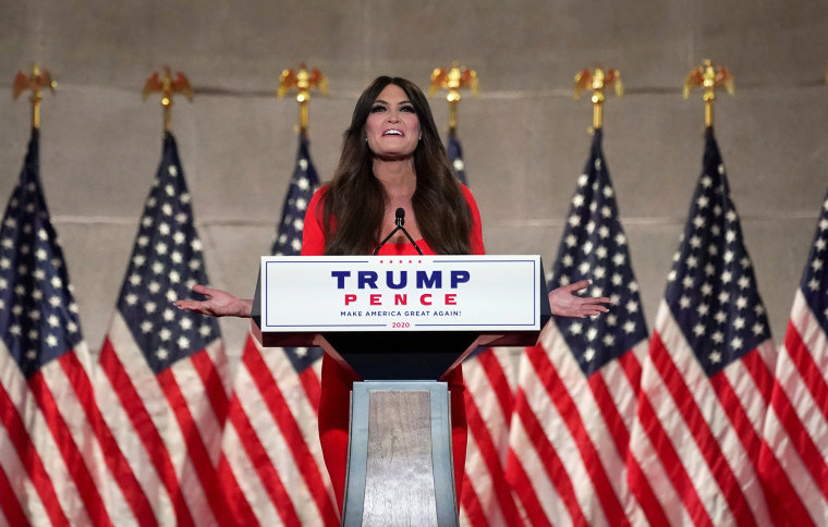 Image: Kimberly Guilfoyle gives a pre-recorded speech to the largely virtual Republican National Convention in Charlotte, from Washington