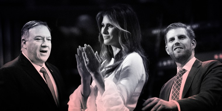 Image: Secretary of State Mike Pompeo, first lady Melania Trump and Eric Trump will speak at the Republican National Convention on Tuesday night.