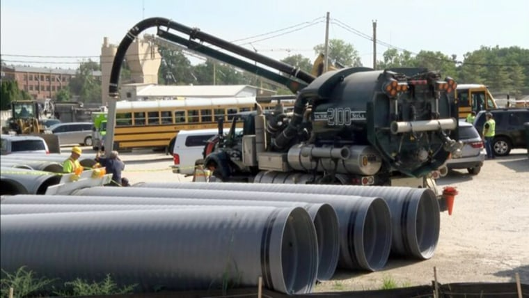 Fire Chief Tom LaRue said the three people were contractors hired by Columbia City, Ind., for a storm sewer project.