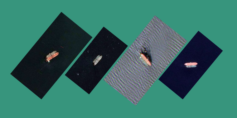 Satellite images of four ships, from left, the Ekaterina, Giessel, Lerax and Amfitriti allegedly meeting up with Iranian state tankers.