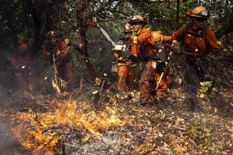 Image: Members of the Delta Conservation Crew, made up of inmate firefighters, clear a fire line on the Walbridge Fire, part of the LNU Lightning Complex fire, in Healdsburg, Calif., Aug. 23, 2020. (Max Whittaker/The New York Times)