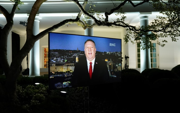 Image: U.S. Secretary of State Mike Pompeo is seen giving his live address to the 2020 Republican National Convention from Israel on a TV at the White House in Washington