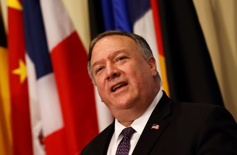 Image: Secretary of State Mike Pompeo speaks to reporters following a meeting with members of the U.N. Security Council about Iran's alleged non-compliance with a nuclear deal