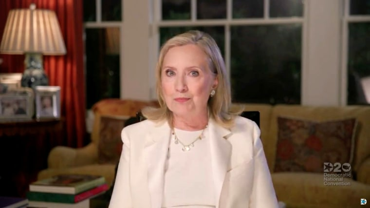 Image: Former Secretary of State Hillary Clinton speaks by video feed during the virtual 2020 Democratic National Convention.