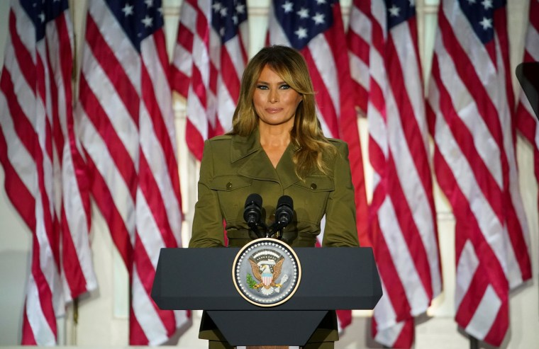 Image: First lady Melania Trump delivers her live address to the largely virtual 2020 Republican National Convention from the Rose Garden of the White House