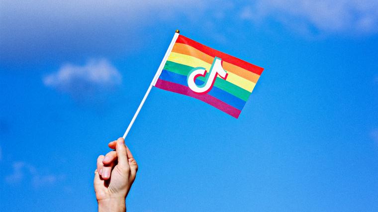 Image: A TikTok logo on a rainbow Pride flag.