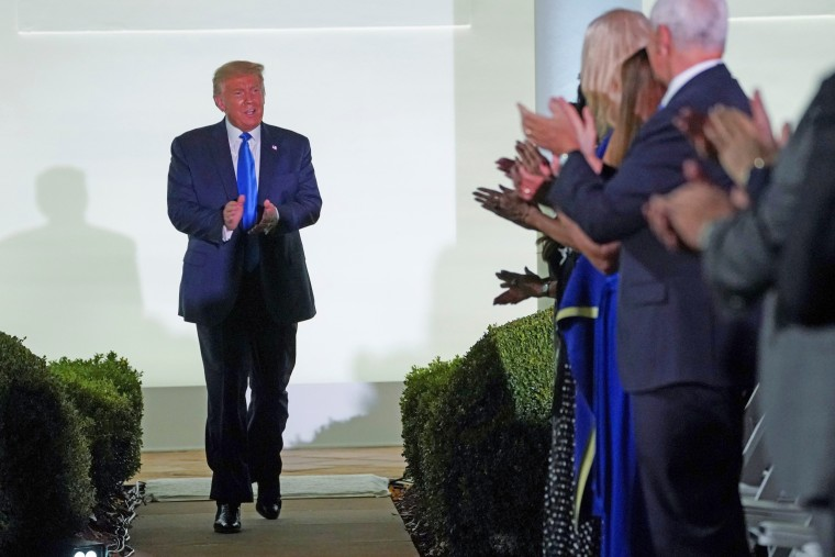 Image: U.S President Trump arrives to watch first lady Melania Trump deliver a live address to the 2020 Republican National Convention from the White House in Washington