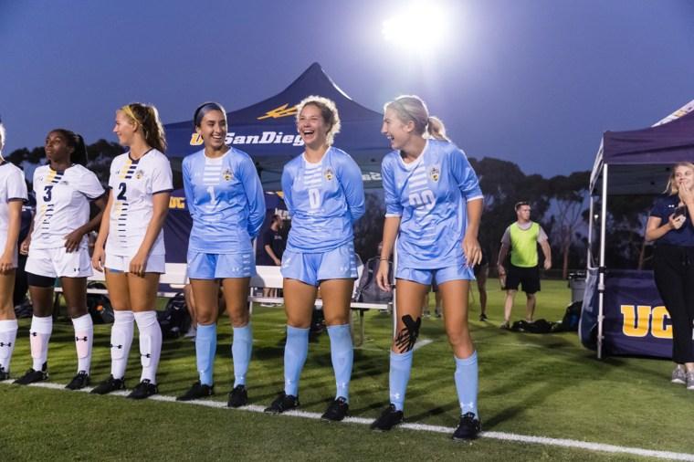 Sophia Garrido, right, is a goalkeeper for U.C. San Diego's women's soccer team.
