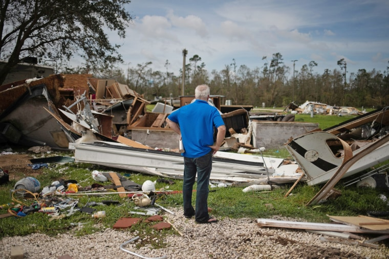 Image: Man returns to find destroyed residence in the aftermath of Hurricane Laura in Sulphur, Louisiana