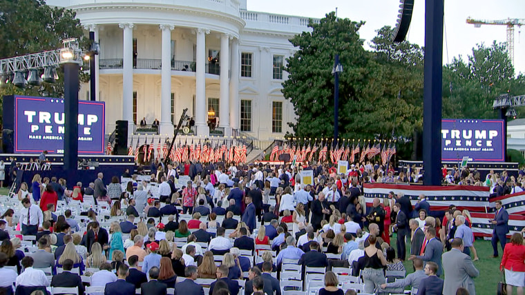 The crowded scene on the White House's South Lawn for Trump's speech