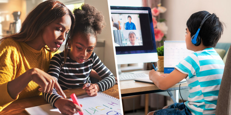 Mother sitting at table helping young daughter with schoolwork and young boy sitting at computer desk homeschooling. Make online schooling easier buy desks, file organizers, earphones, and more from retailer like Amazon, Walmart, Best Buy and Staples.