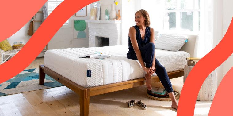 Woman sitting on Leesa mattress in bedroom
