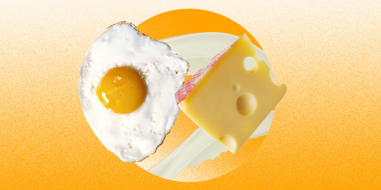 B12 collage of eggs, cheese and milk