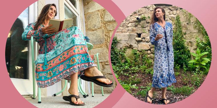Woman wearing bohemian dress outdoors