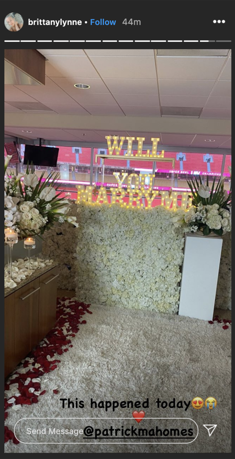 Mahomes appears to have filled a suite at Arrowhead Stadium with flowers and candles to propose to his longtime love, Brittany Matthews.