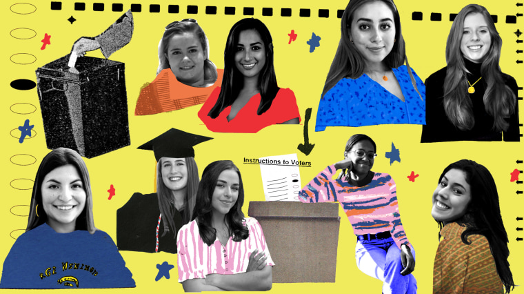 Image: A collage of women who invented Voteology, an app that helps college students figure out if their vote will be more impactful at their home address or their school address.