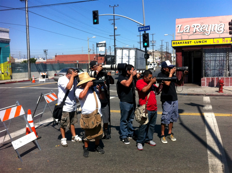 """Paparazzi on the job in Los Angeles shooting outside the """"Dancing with the Stars"""" set in 2013."""