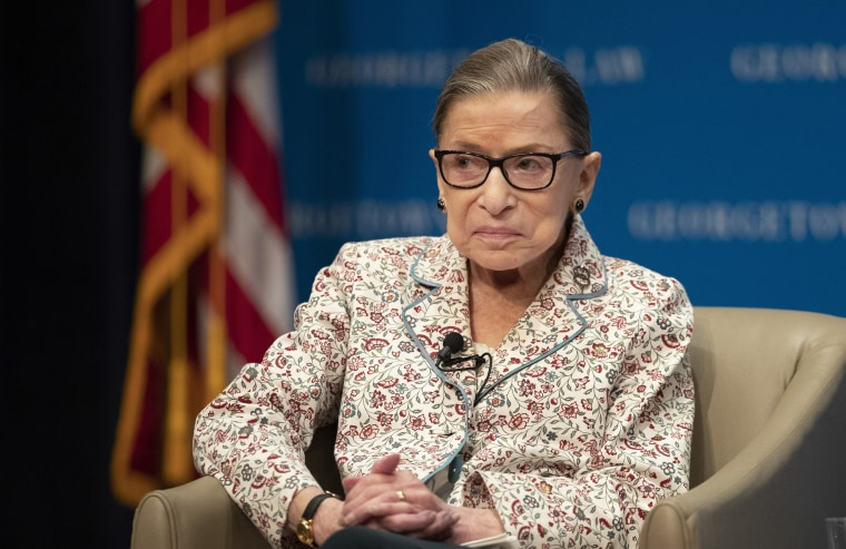 Image: Supreme Court Associate Justice Ruth Bader Ginsburg speaks about her work and gender equality during a panel discussion at the Georgetown University Law Center in Washington.