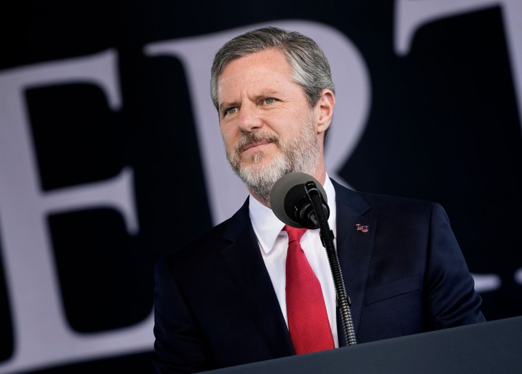 Image: President of Liberty University, Jerry Falwell, Jr., speaks  during Liberty University's commencement ceremony in Lynchburg