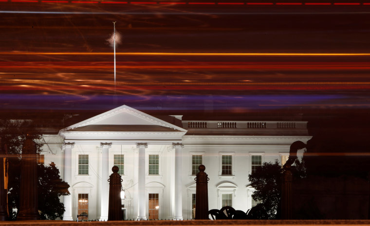 A view of the White House by night
