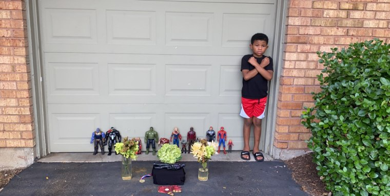 Kian Westbrook, 7, pays tribute to Chadwick Boseman, who died recently of colon cancer.