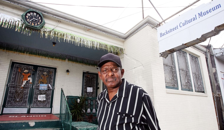 Sylvester Francis, owner of the Back Street Cultural Museum, celebrates the museum's 10th anniversary in New Orleans on Oct. 29, 2009.