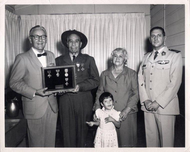 Commander M.R. McKinney, Marcelino Serna, Diana Stopani, Mrs. M. Serna, and Major Bernard L. Mourlevat.