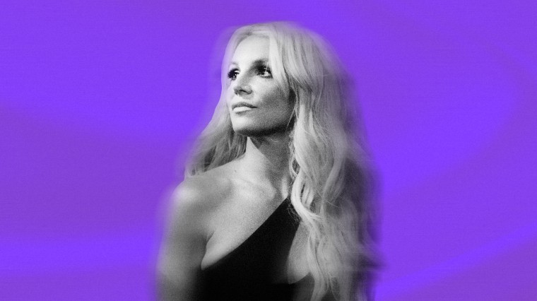 Image: Britney Spears on a background of purple silk.