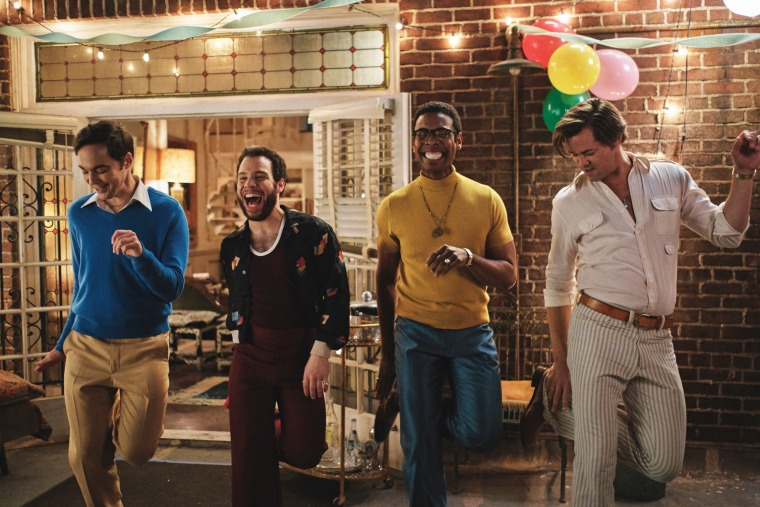 """Jim Parsons as Michael, Robin De Jesus as Emory, Michael Benjamin Washington as Bernard and Andrew Rannells as Larry in a scene from the Netflix film """"The Boys in the Band."""""""
