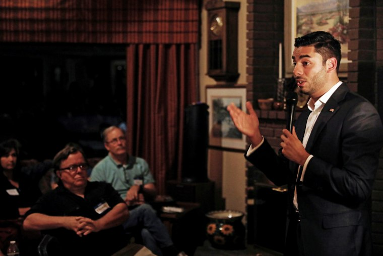 Democratic candidate Ammar Campa-Najjar speaks during a campaign gathering and fund raising event in El Cajon, California