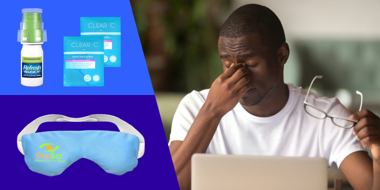Man sitting at desk with laptop rubbing tired dry eyes. Shop products recommended by eye doctors and experts to relieve dry eyes from retailers like Amazon, Walmart, Rite Aid, and more.