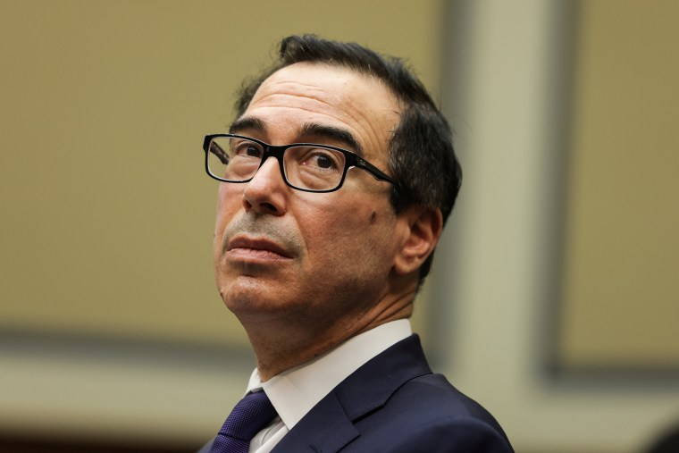 Image: Treasury Secretary Steve Mnuchin looks on before testifying at the U.S. House Select Subcommittee on the Coronavirus Crisis on the Trump administration's response to country's economic crisis