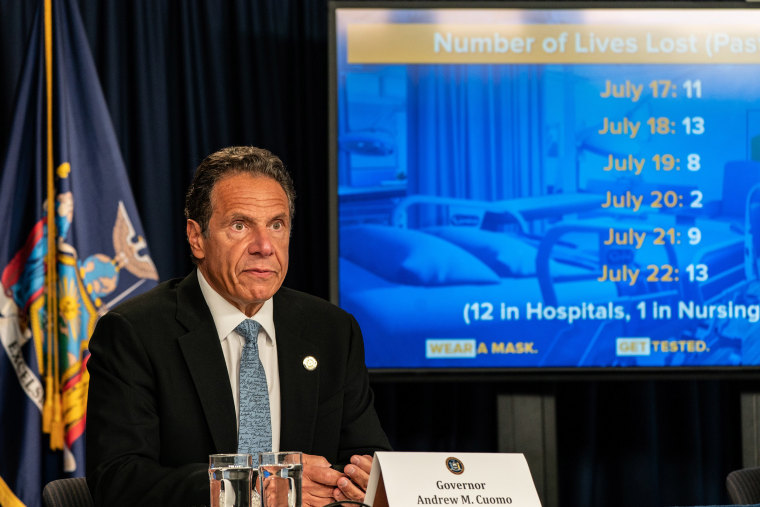 Image: New York Gov. Andrew Cuomo speaks during the daily media briefing at the Office of the Governor of the State of New York.
