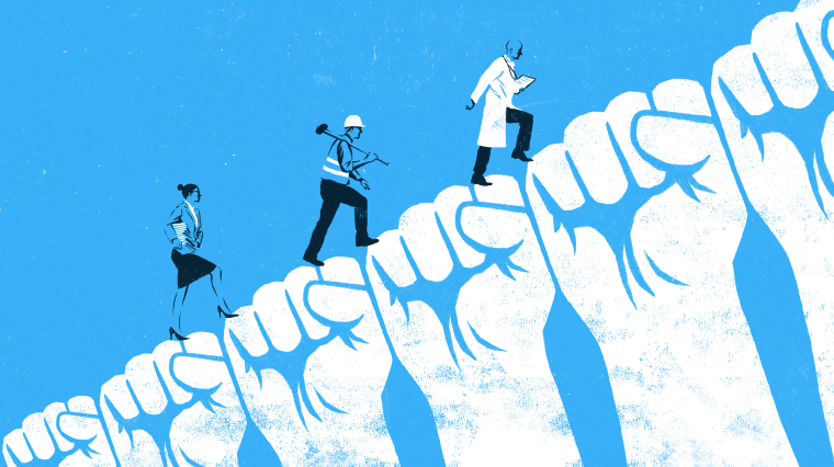 Image: A teacher, construction worker and doctor walk up a hill made of clenched fists.