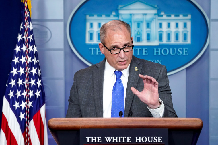 Acting Commissioner of U.S. Customs and Border Protection Morgan speaks to reporters at the White House in Washington