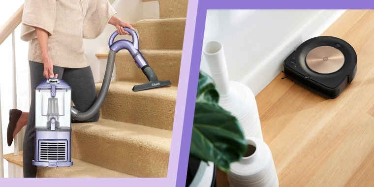Woman using vacuum on stairs and robot vacuum cleaning wood floor. Shop the best vacuum for your household needs, according to experts. From brands like Dyson, Shark, Miele, iRobot and more.