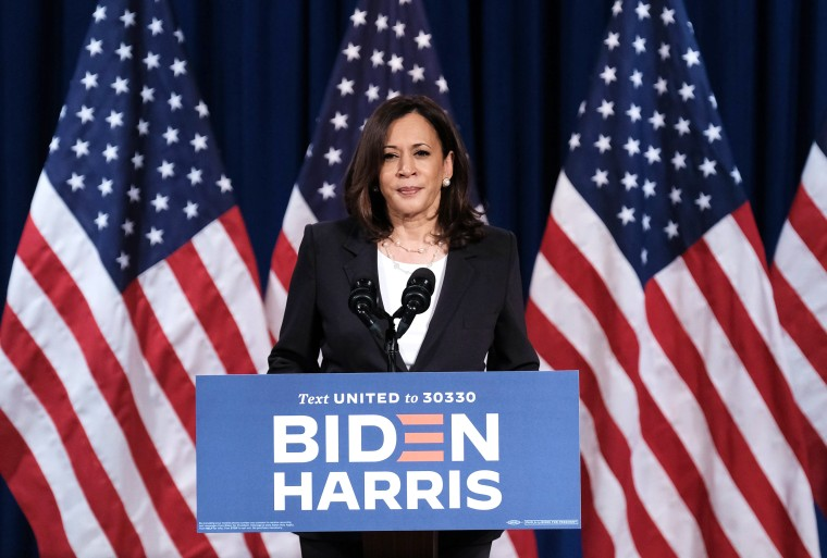 Image: Vice Presidential Candidate Kamala Harris Delivers Remarks In Washington DC