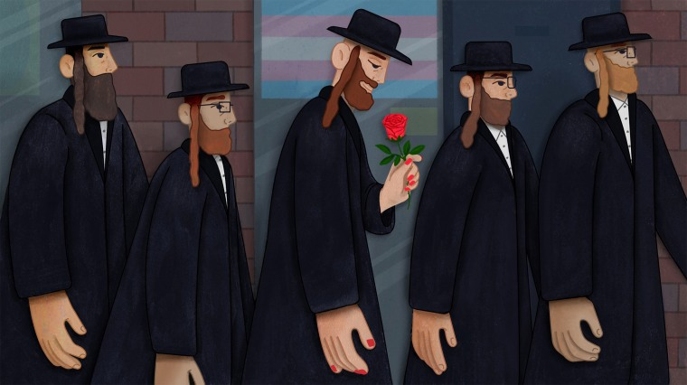 Illustration of Hasidic woman wearing red nail polish and traditional men's clothing looking down at a rose in her hand.