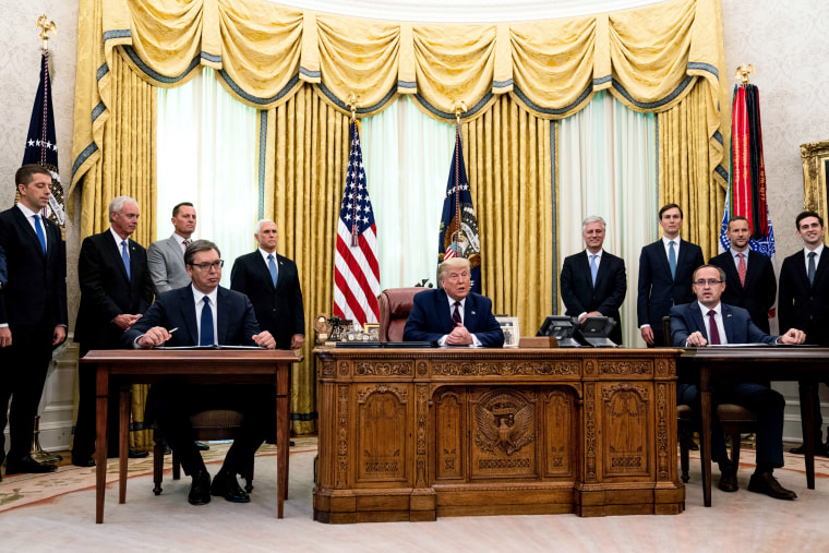 Image: President Trump Hosts Trilateral With President Of Serbia And Prime Minister Of Kosovo